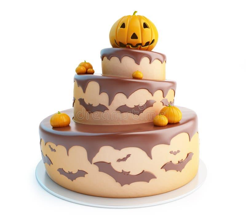 Torta 3d de Halloween en un fondo blanco libre illustration