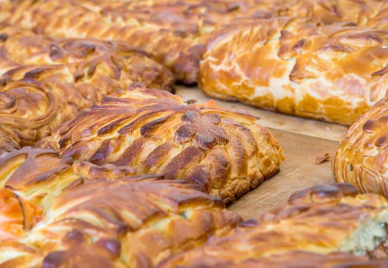Torta da couve de Kulebyaka Culinária do russo fotos de stock royalty free