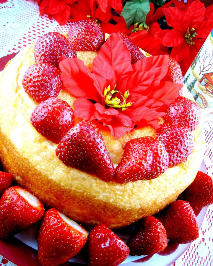 Torta de alimento de ángel de la fresa fotos de archivo
