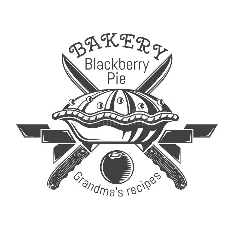 Torta de Blackberry com fitas e as facas transversais Logotipo para a padaria, pastelaria, menu ilustração royalty free