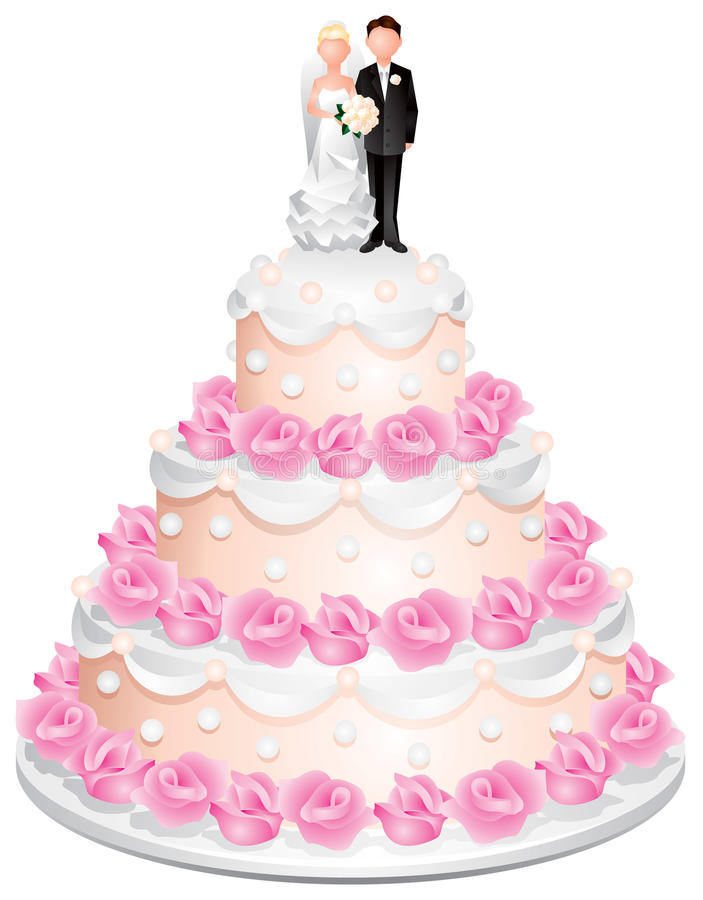 Torta de boda con el novio y la novia libre illustration