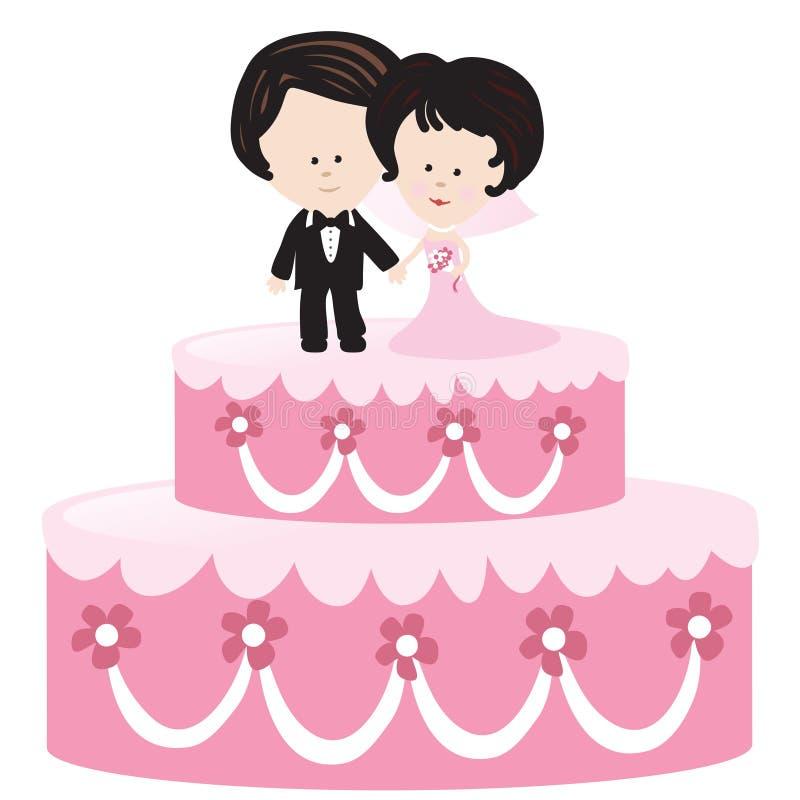 Torta de boda con la novia y el novio libre illustration