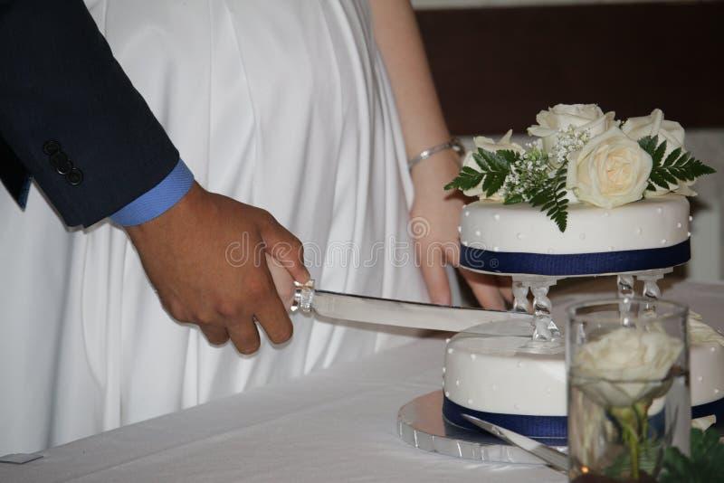 Torta de boda del corte de novia y del novio imagenes de archivo
