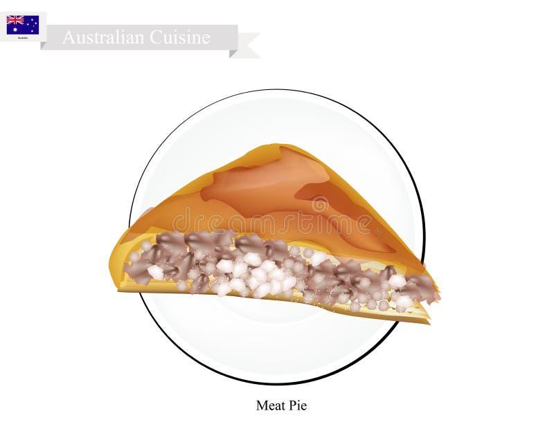 Torta de carne, o prato nacional de Austrália ilustração royalty free