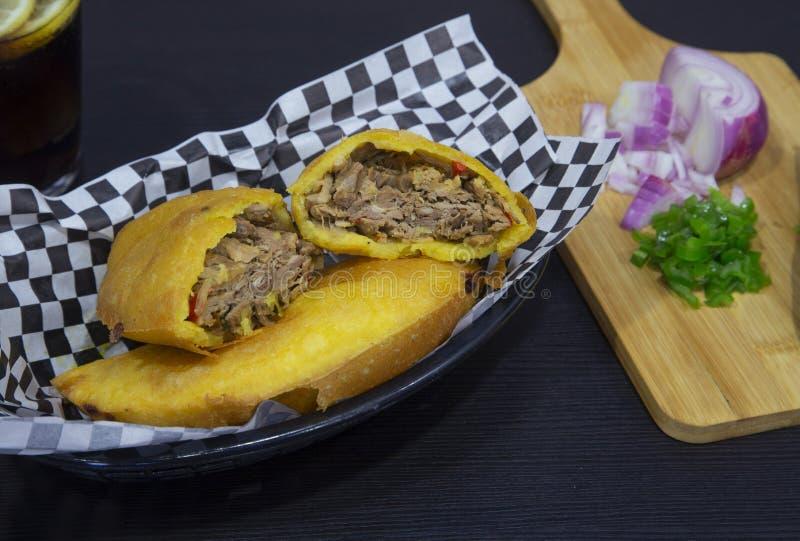 Torta de carne venezuelana do prato da carne imagens de stock royalty free