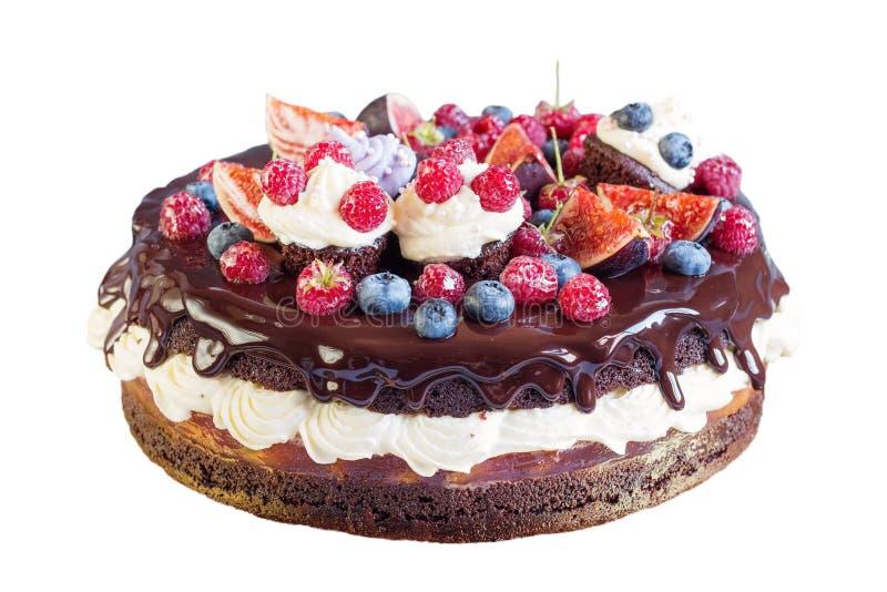 Torta de chocolate acodada con la fruta aislada en blanco fotografía de archivo