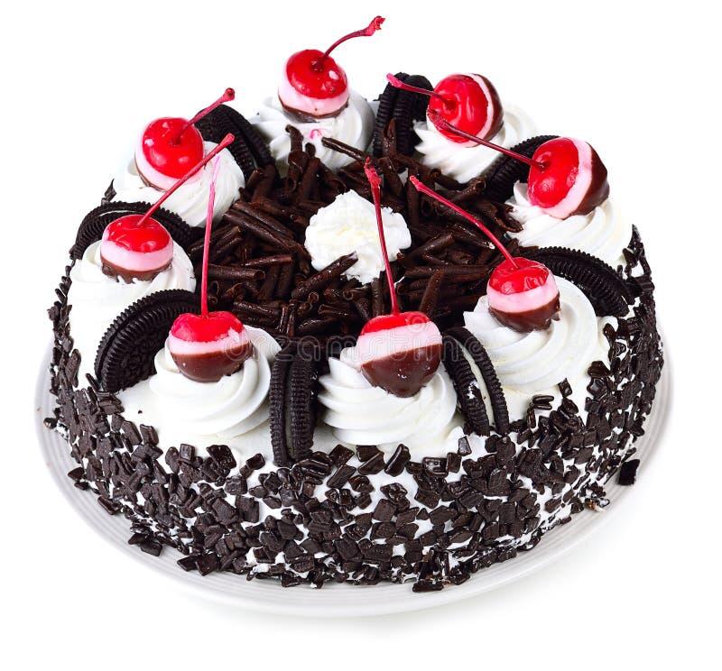 Torta de chocolate aislada en el fondo blanco fotografía de archivo