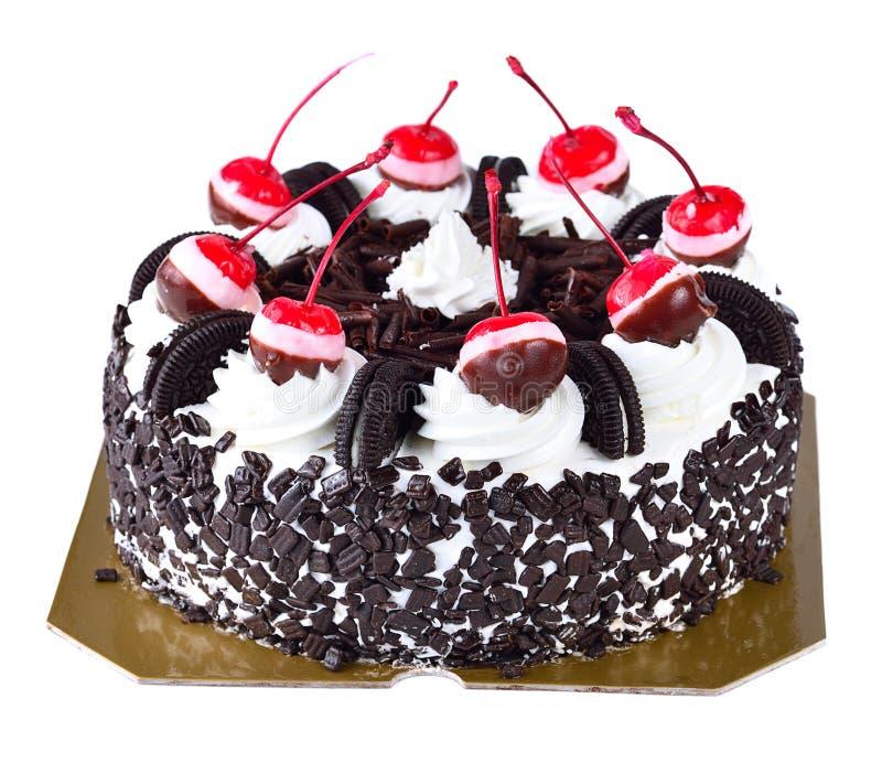 Torta de chocolate aislada en el fondo blanco foto de archivo
