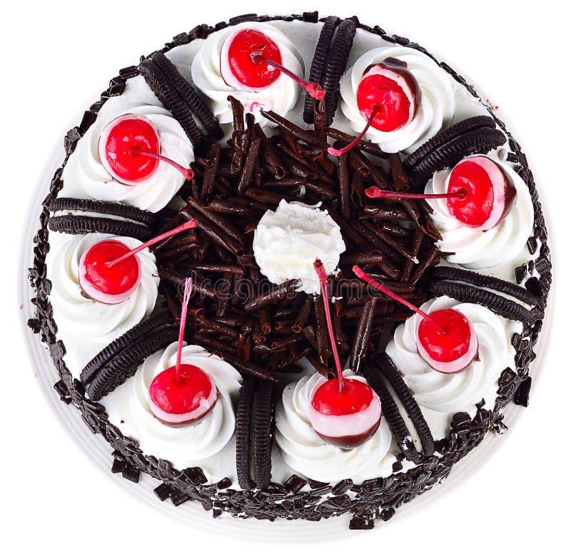 Torta de chocolate aislada en el fondo blanco fotos de archivo