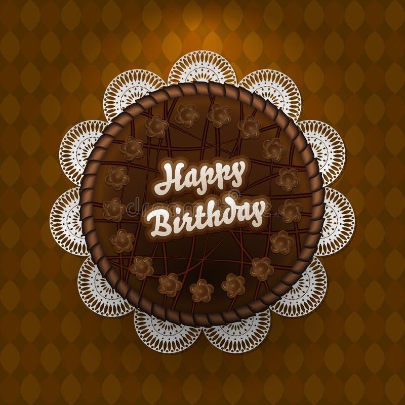 Torta de chocolate con deseos del cumpleaños ilustración del vector