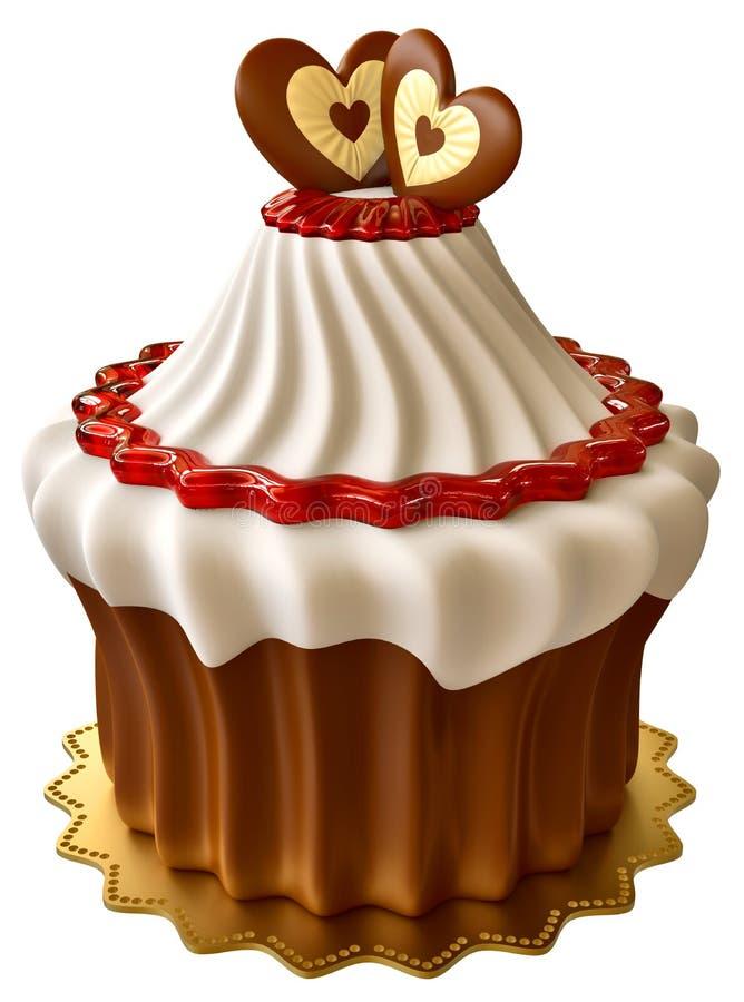 Torta de chocolate con el atasco de frambuesa y dos corazones ilustración del vector