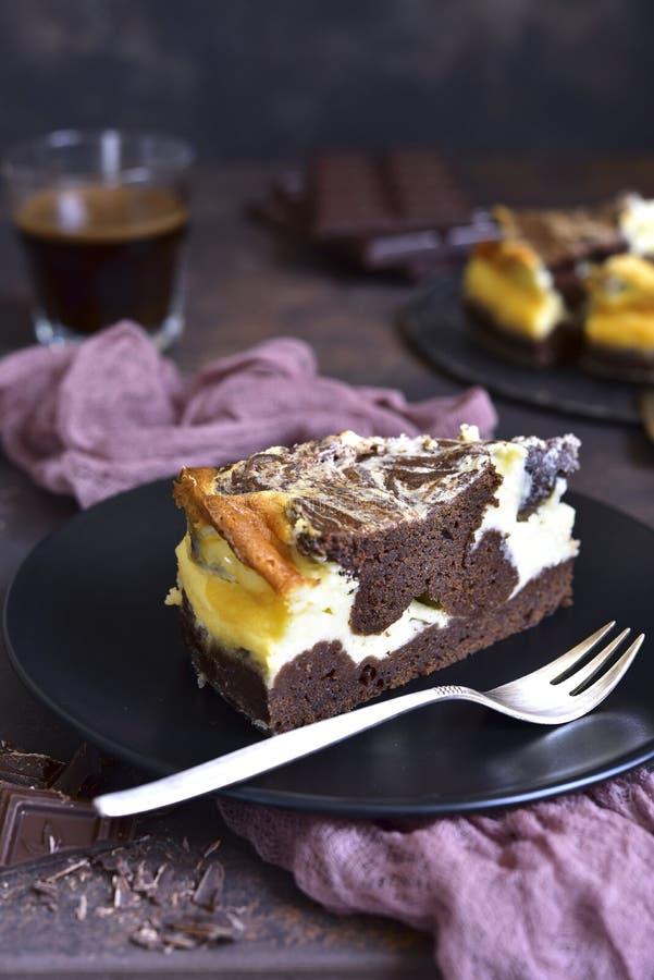 Torta de chocolate con queso del ricotta imagen de archivo libre de regalías