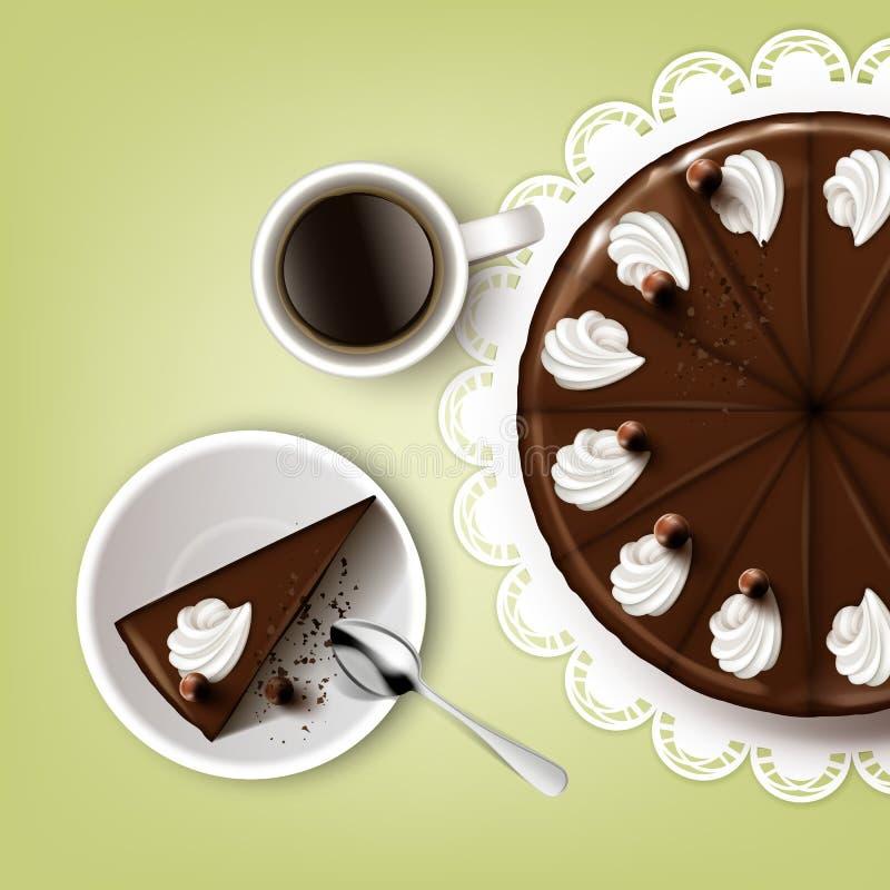 Torta de chocolate del corte stock de ilustración