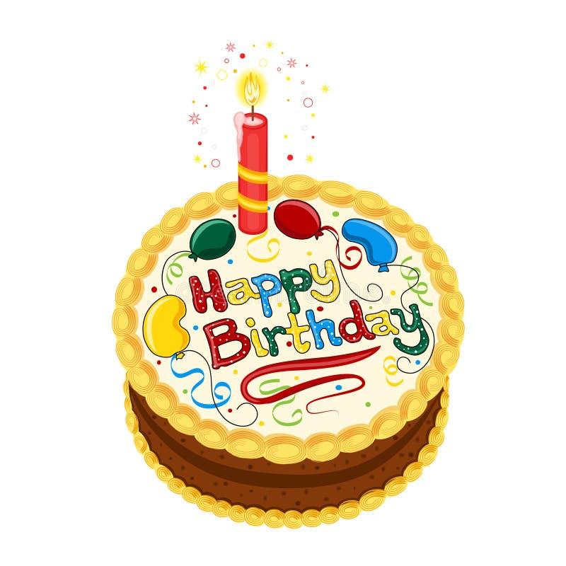 Torta de chocolate del feliz cumpleaños ilustración del vector