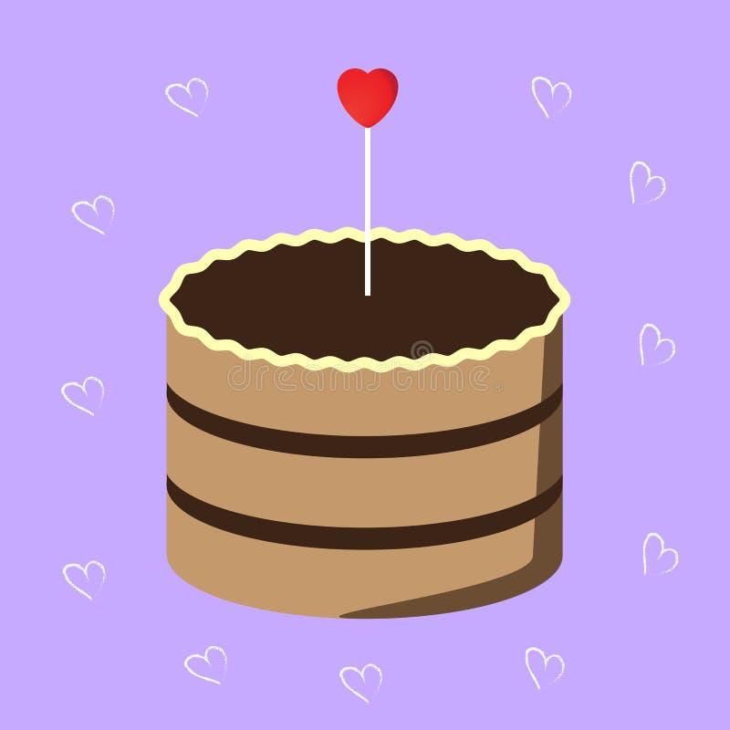 Torta de chocolate dulce con el corazón rojo stock de ilustración