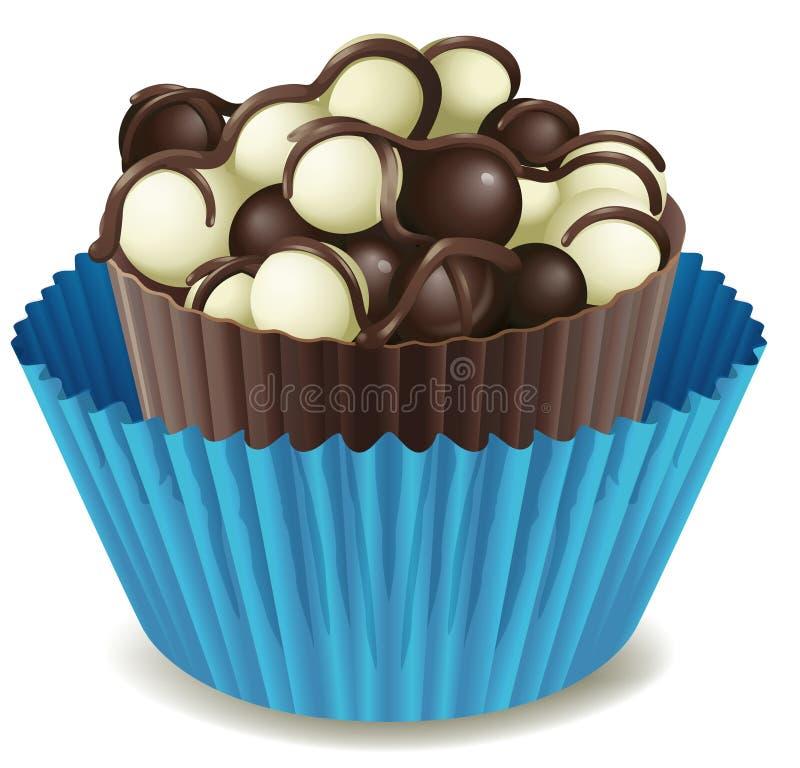 Torta de chocolate en taza azul libre illustration