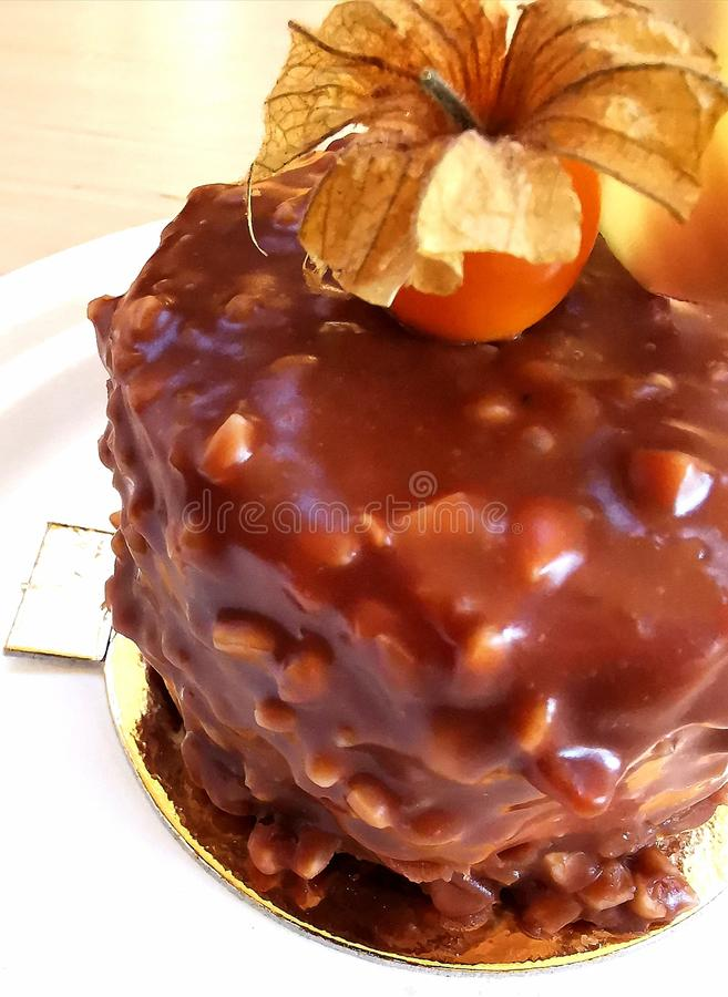 Torta de chocolate de la avellana en una placa blanca imágenes de archivo libres de regalías