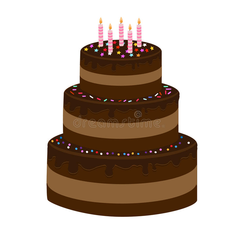 torta de chocolate Tres-con gradas fotos de archivo
