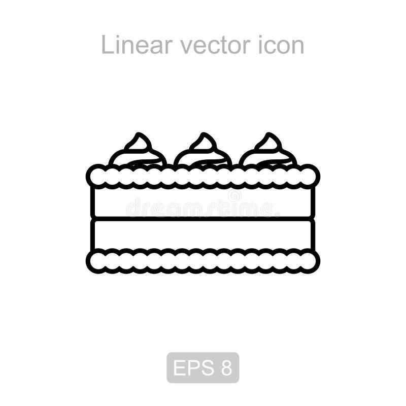 Torta de creme Ícone linear ilustração royalty free