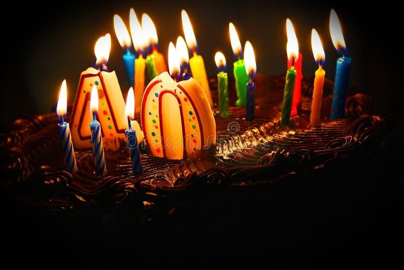 40.a torta de cumpleaños fotografía de archivo