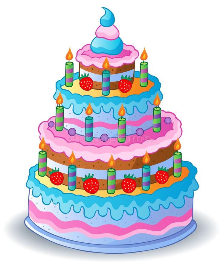 Torta de cumpleaños adornada 1 ilustración del vector