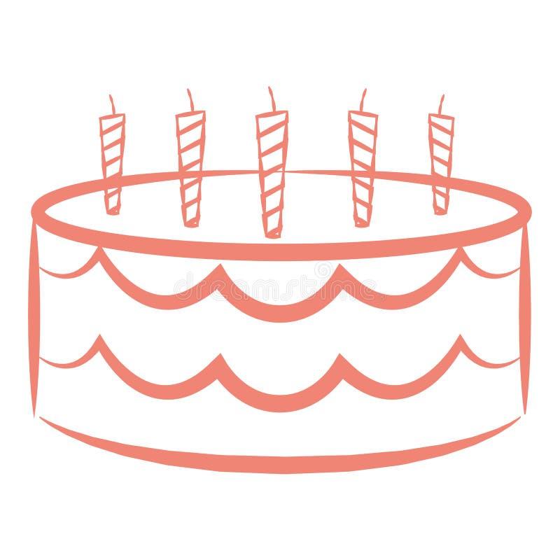 Torta de cumpleaños aislada ilustración del vector