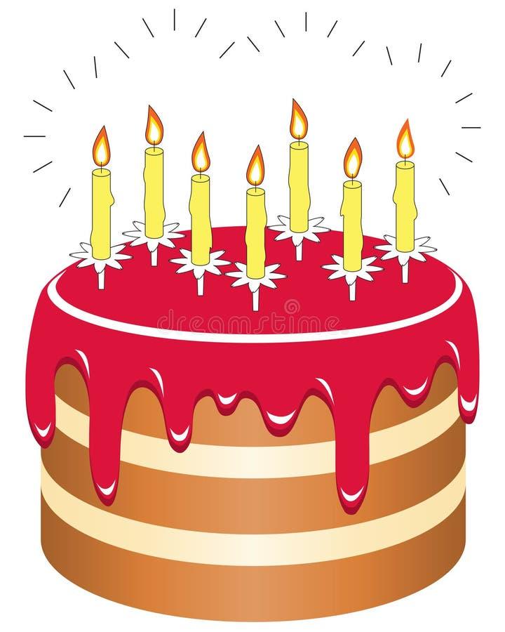 Torta de cumpleaños aislada en el fondo blanco stock de ilustración