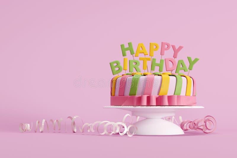 Torta de cumpleaños colorida en fondo rosado imágenes de archivo libres de regalías