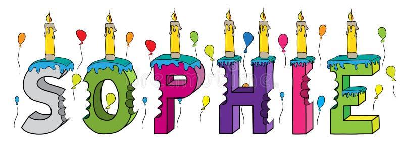 Torta de cumpleaños colorida mordida de las letras 3d del nombre de la hembra de Sophie con las velas y los globos stock de ilustración