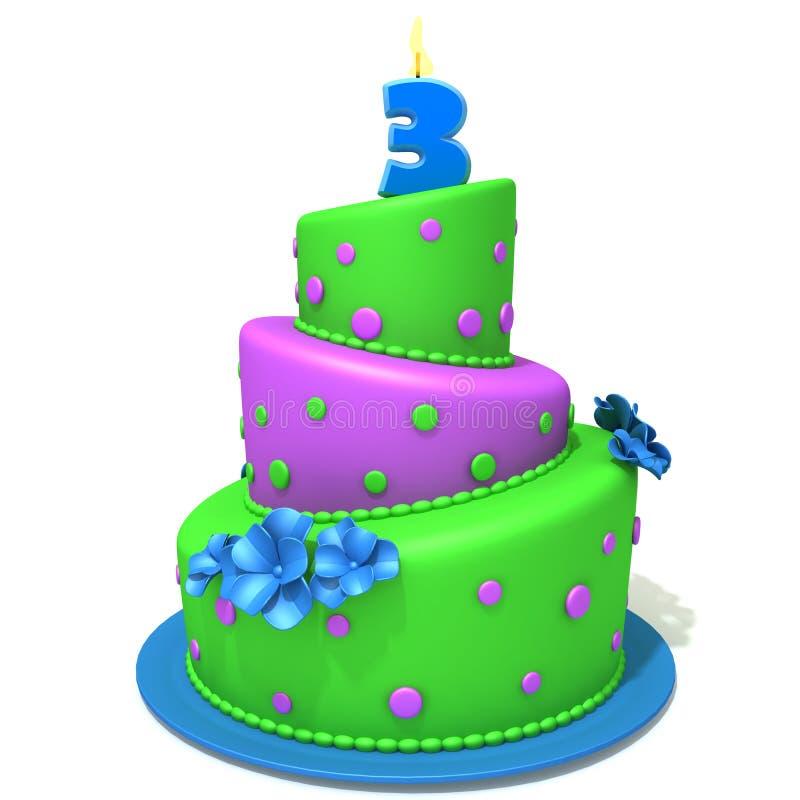 Torta de cumpleaños con el ejemplo 3d del número tres ilustración del vector