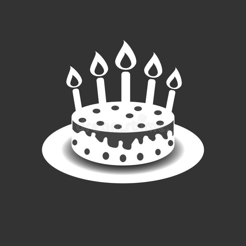 Torta de cumpleaños con el icono ardiente del pictograma de las velas Pictog simple ilustración del vector
