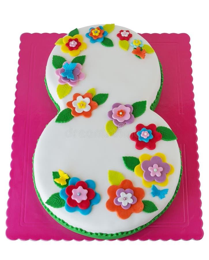 Torta de cumpleaños con el número 8 fotografía de archivo libre de regalías
