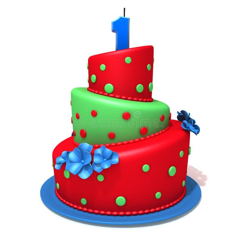 Torta de cumpleaños con el número uno libre illustration