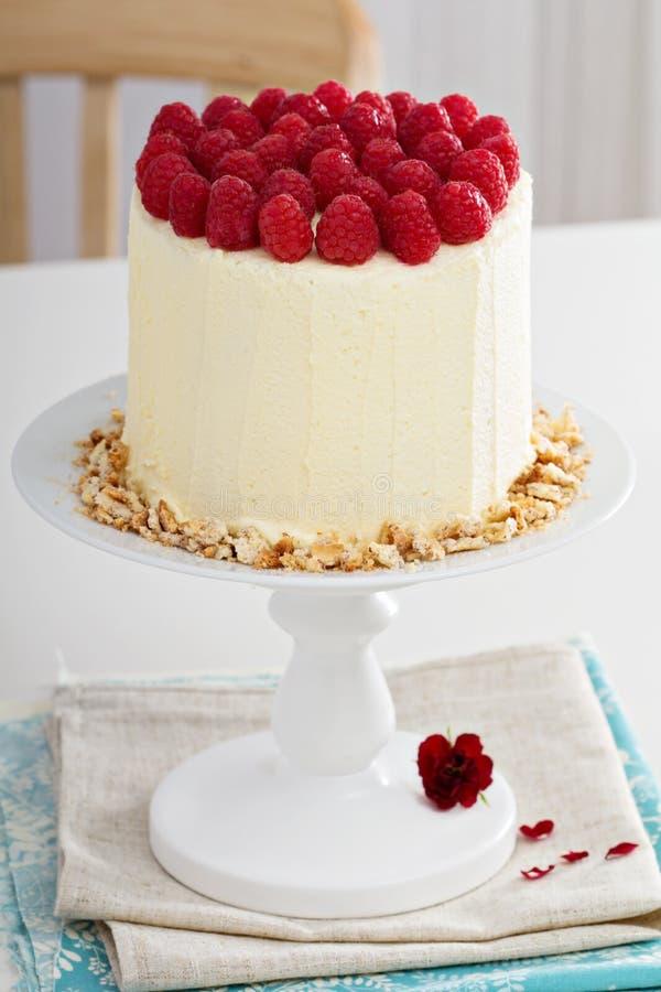 Torta de cumpleaños con el queso cremoso imagen de archivo libre de regalías