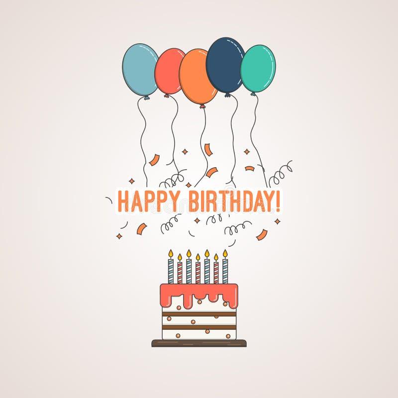 Torta de cumpleaños con enhorabuena con feliz cumpleaños y las velas con los globos y el confeti coloreados brillantes libre illustration