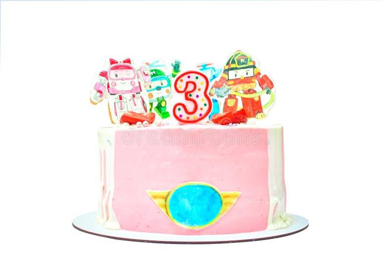 Torta de cumpleaños con la decoración pintada para el 3o aniversario Postre delicioso rosado con la fresa y la crema imágenes de archivo libres de regalías