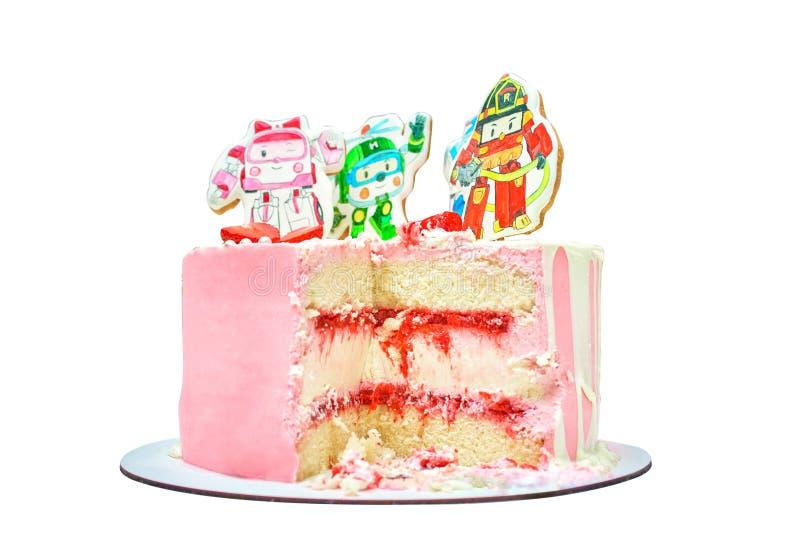 Torta de cumpleaños con la decoración pintada para los bebés Postre delicioso rosado con la fresa y la crema imagenes de archivo