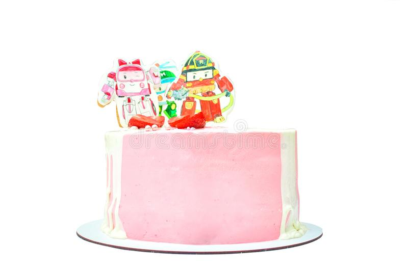 Torta de cumpleaños con la decoración pintada para los bebés Postre delicioso rosado con la fresa y la crema imagen de archivo libre de regalías