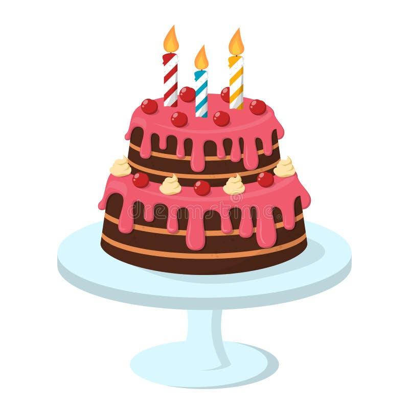 Torta de cumpleaños con la vela en ella Delicioso dulce libre illustration