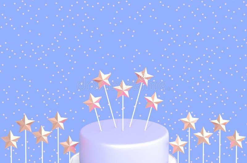 Torta de cumpleaños con las estrellas en los palillos en el ejemplo azul del fondo 3D fotos de archivo