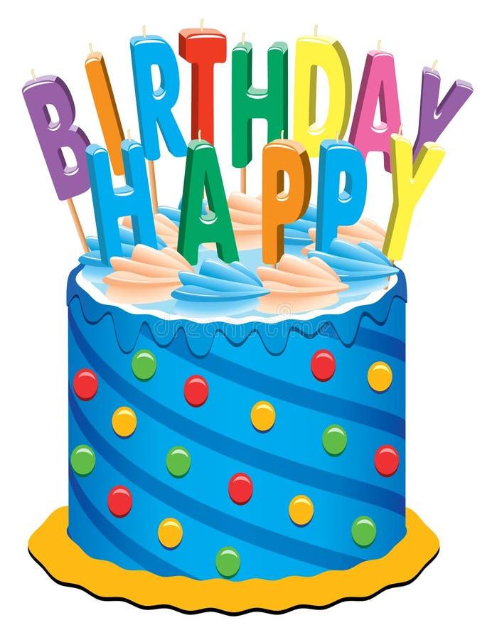 Torta de cumpleaños con las velas ilustración del vector