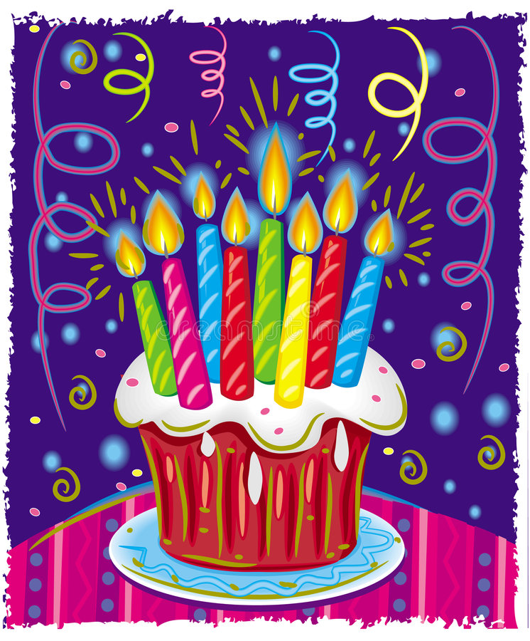 Torta de cumpleaños con las velas. stock de ilustración