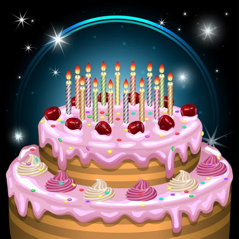 Torta de cumpleaños con las velas y la decoración Ilustración del vector stock de ilustración