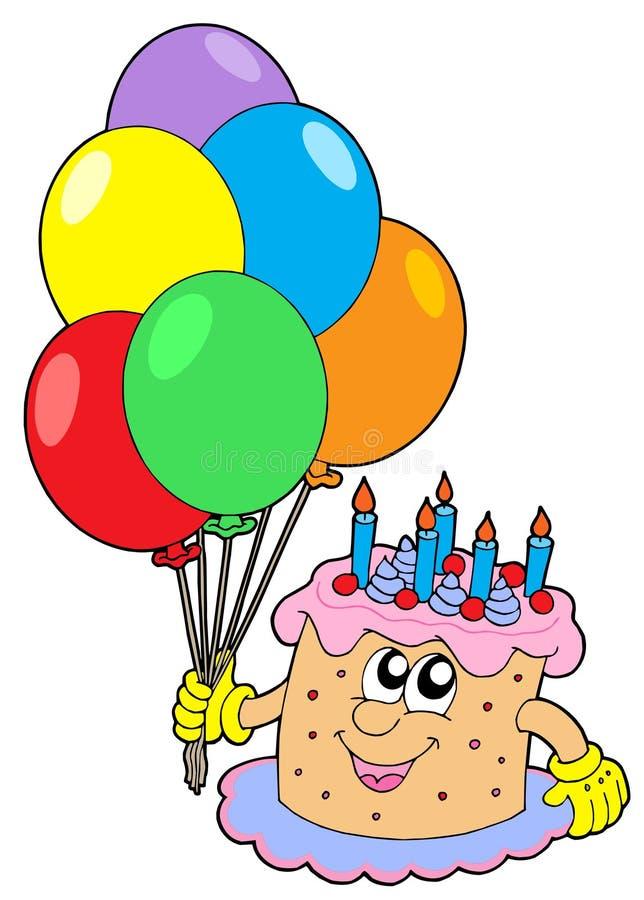 Torta de cumpleaños con los globos libre illustration