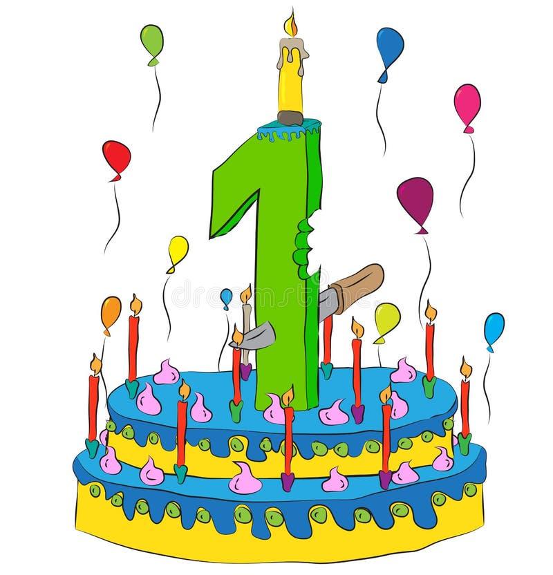 Torta de cumpleaños con número una vela, celebrando el primer año de vida, los globos coloridos y la capa del chocolate libre illustration