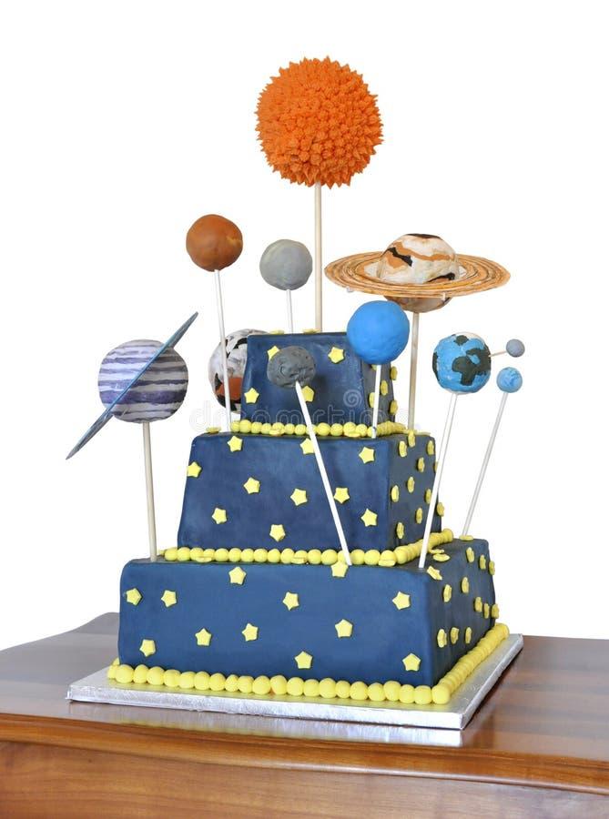 Torta de cumpleaños con tema de la astronomía imágenes de archivo libres de regalías