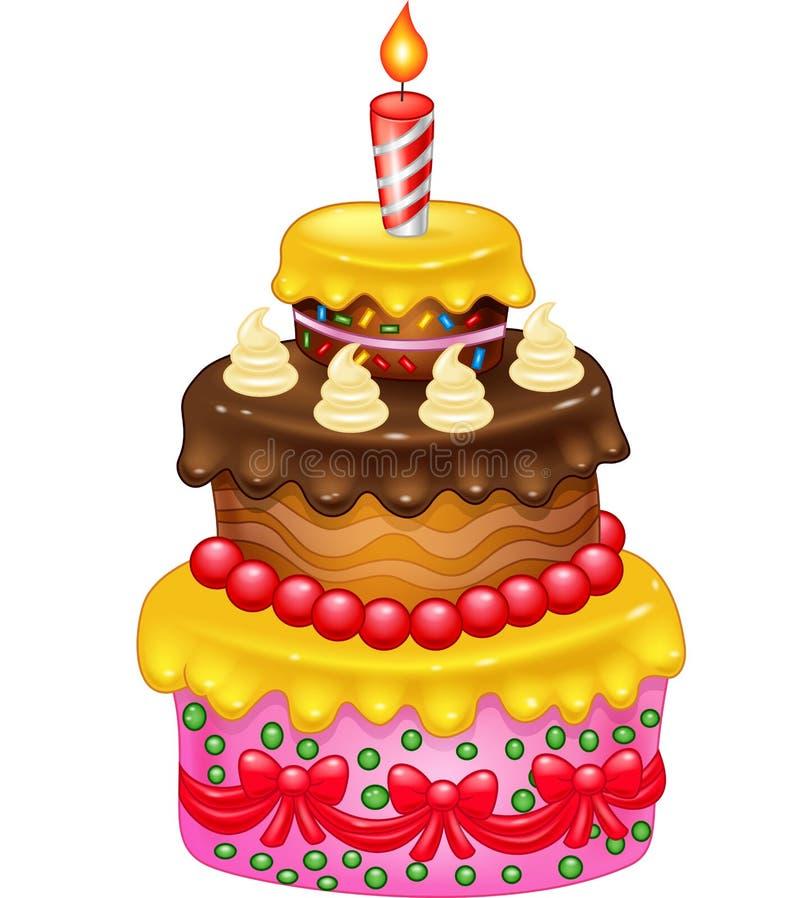 Torta de cumpleaños de la historieta ilustración del vector