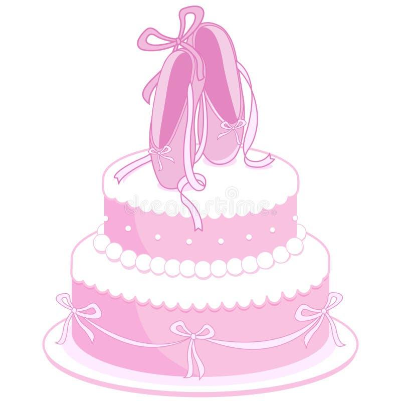 Torta de cumpleaños de los zapatos de ballet stock de ilustración