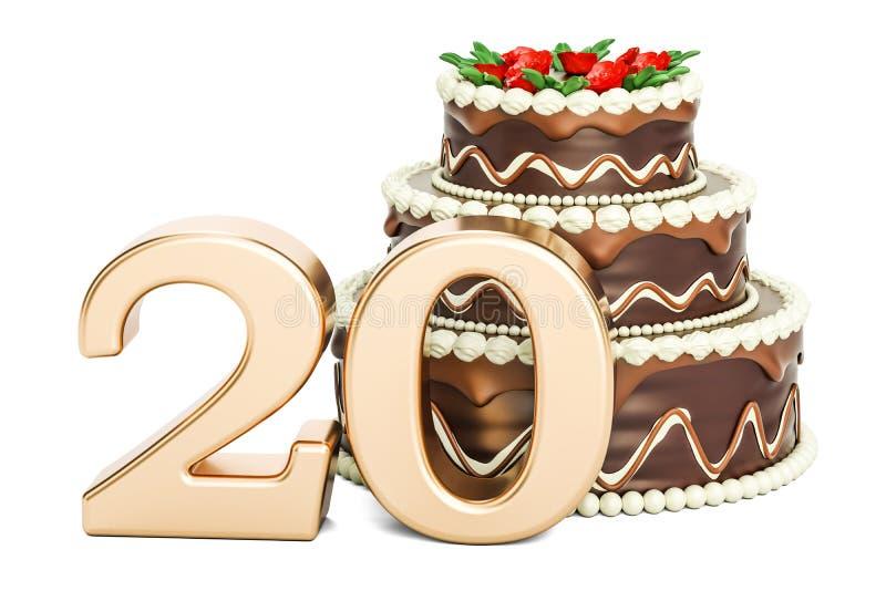 Torta de cumpleaños del chocolate con el número de oro 20, representación 3D ilustración del vector