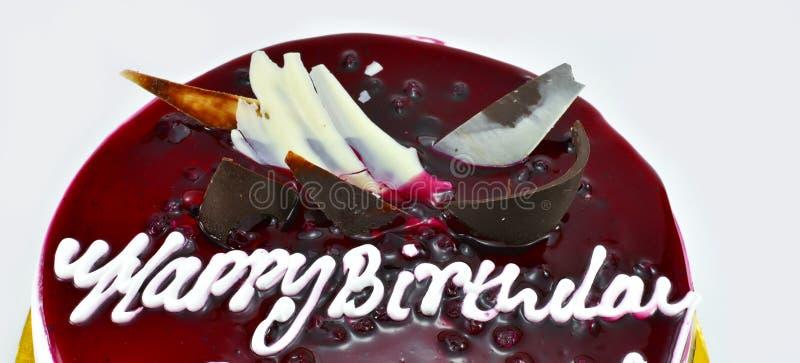 Torta de cumpleaños deliciosa del arándano, feliz cumpleaños, hora de celebrar, aislado en el fondo blanco imagen de archivo libre de regalías